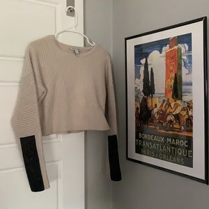 Autumn Cashmere   Cropped sweater with leather